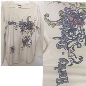 Harley Davidson XXL cream bling women's V-neck top